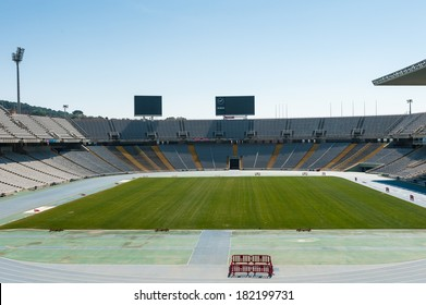BARCELONA, SPAIN - MAR 15, 2014: Estadi Olimpic Lluis Companys (Barcelona Olympic Stadium) in Barcelona, Spain. Originally built in 1927 for the 1929 International Exposition