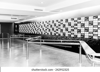 BARCELONA, SPAIN - MAR 15, 2014: Flash interview zone on the Camp Nou stadium in Barcelona. Camp Nou is the home arena for FC Barcelona and seats 99786 people.