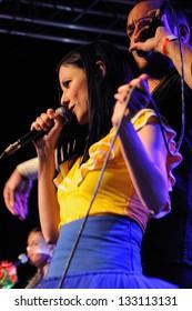 BARCELONA, SPAIN - MAR 19: Delafe y las Flores Azules band performs at Faktoria d'Arts club on March 19, 2011 in Barcelona, Spain.