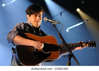 BARCELONA, SPAIN - MAR 20: Marcus Mumford, frontman of Mumford and Sons band, performs at Sant Jordi Club on March 20, 2013 in Barcelona, Spain