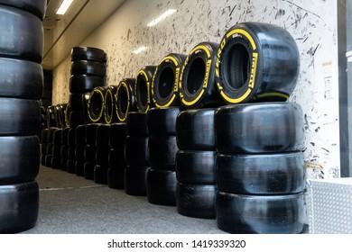 Barcelona, Spain, Mar 5th, 2019 - Yellow Pirelli tires in truck day one of F2 pre-season test at Circuit de Catalunya.