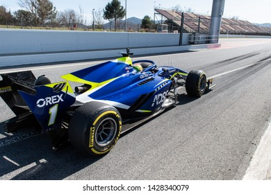 Barcelona, Spain. Mar 5th, 2019 - Louis Deletraz from Switzerland with 1 Carlin Racing on track during Fia Formula 2 Test at Circuit de Catalunya.