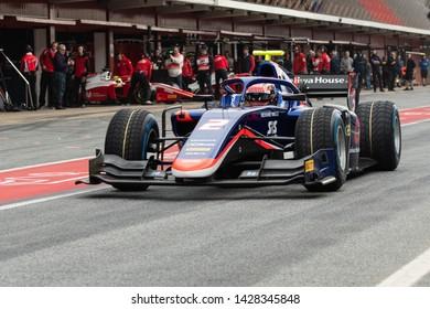 Barcelona, Spain. Mar 5th, 2019 -  Nobuharu Matsushita from Japan with 2 Carlin Racing - on track at Fia Formula2 Test at Circuit de Catalunya.
