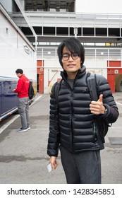 Barcelona, Spain. Mar 5th, 2019 -  Nobuharu Matsushita from Japan with 2 Carlin Racing - portrait at  Formula 2 test at Circuit de Catalunya.