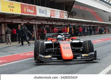 Barcelona, Spain, Mar 5th, 2019, Jordan KingFrom Great Britain with 16 MP Motorsport at Fia Formula 2 Test at Circuit de Catalunya.