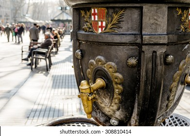 BARCELONA, SPAIN - MARCH 01, 2012: A drinking water fountain in Ramblas, Barcelona, Spain.