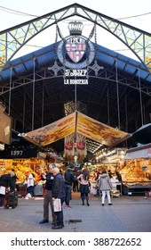 Barcelona, Spain - March 01, 2016: Mercat de Sant Josep, better known as La Boqueria, is popular with locals and tourists alike.