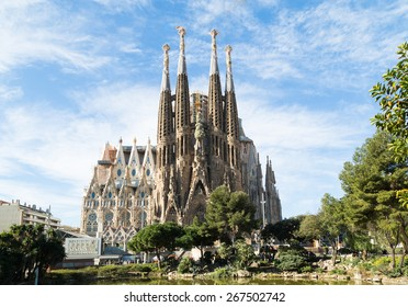 BARCELONA, SPAIN -MARCH 06: Sagrada Familia on MARCH 06, 2015: La Sagrada Familia - the impressive cathedral designed by architect Gaudi, which is being build since March 19, 1882 and is not finished.