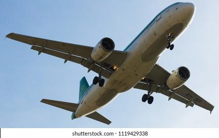 BARCELONA, SPAIN - MARCH 09, 2017:  Aer Lingus plane arriving at El Prat Airport on schedule. Barcelona, Catalonia