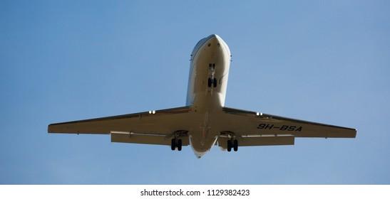 BARCELONA, SPAIN - MARCH 09, 2017:  Board 9H-BSA landing in El Prat Airport on time. Barcelona, Spain