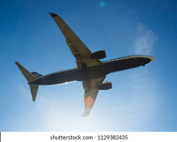 BARCELONA, SPAIN - MARCH 09, 2017:  Ryanair Airlines plane arriving at El Prat Airport on schedule. Barcelona, Catalonia