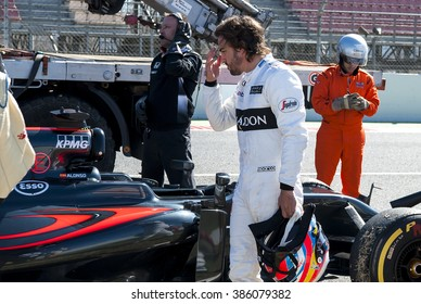 BARCELONA, SPAIN - MARCH 1, 2016: Fernando Alonso of McLaren Honda at Formula One Test Days at Catalunya Circuit on March 1, 2016 in Barcelona, Spain.