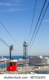 BARCELONA, SPAIN - MARCH 1, 2016: Cable car from Montjuic to the harbor in Barcelona, Spain