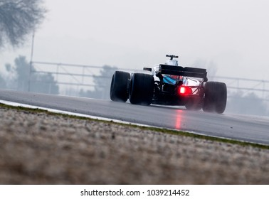 BARCELONA, SPAIN - MARCH 1, 2018: Sirotkin during Formula One Test Days at Circuit of Barcelona Catalunya.