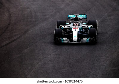BARCELONA, SPAIN - MARCH 1, 2018: Lewis Hamilton during Formula One Test Days at Circuit of Barcelona Catalunya.