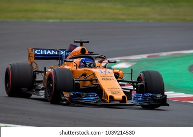 BARCELONA, SPAIN - MARCH 1, 2018: Fernando Alonso during Formula One Test Days at Circuit of Barcelona Catalunya.