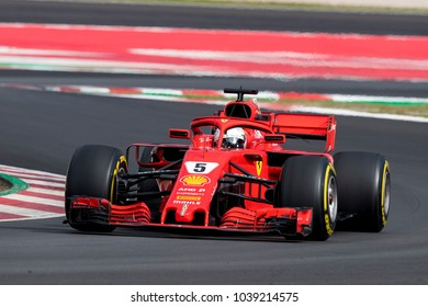 BARCELONA, SPAIN - MARCH 1, 2018: Sebastian Vettel during Formula One Test Days at Circuit of Barcelona Catalunya.