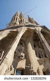 BARCELONA, SPAIN - MARCH 10: Sagrada familia church by Antoni Gaudi, under construction in Barcelona, Catalonia, Spain on March 10, 2013.