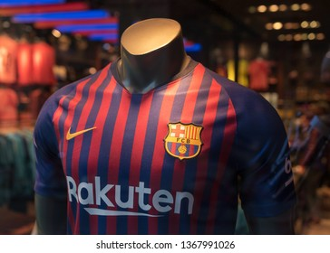 BARCELONA, SPAIN - March 11, 2019: T-shirt of FC Barcelona in Official Store in Barcelona city.