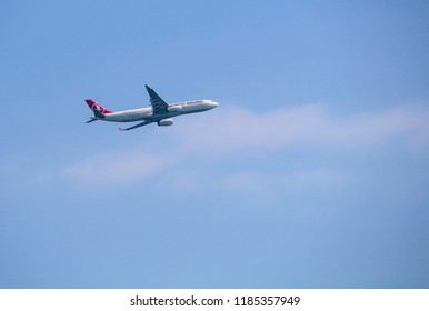 Barcelona, Spain - March 12, 2017: Turkish Airlines Airbus A330 taking off from Barcelona El Prat on a route to Istanbul Ataturk airport
