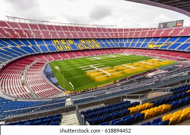 BARCELONA, SPAIN - MARCH 14, 2011: CAMP NOU. Panoramic view of the Camp Nou. The stadium of Football Club Barcelona team.