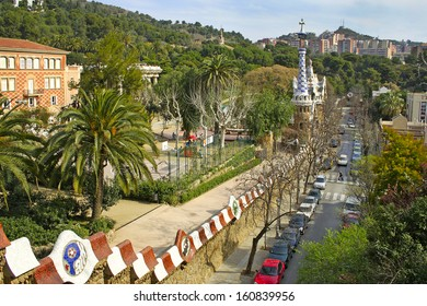 """BARCELONA, SPAIN - MARCH 15: The park Guell, designed by Antonio Gaudi, on March 15, 2007 in Barcelona. Part of the UNESCO World Heritage Site """"Works of Antonio Gaudi"""""""