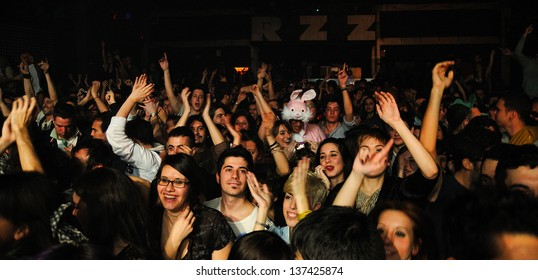 BARCELONA, SPAIN - MARCH 18: Fans of Dorian, spanish famous band, at Razzmatazz on March 13, 2011 in Barcelona, Spain.