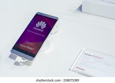 BARCELONA, SPAIN - MARCH 2, 2015: Mobile World Congress 2015. Huawei Mate 7 at Huawei Stand of the Mobile World Congress 2015.