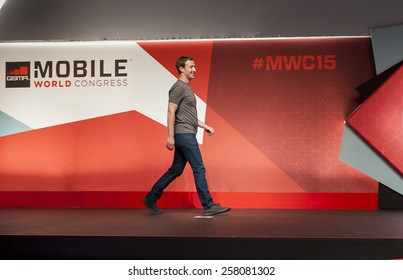 BARCELONA, SPAIN - MARCH 2, 2015: Mobile World Congress 2015. Mark Zuckerberg, Facebook's CEO, at Mobile World Congress 2015