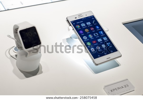 BARCELONA, SPAIN - MARCH 2, 2015: Mobile World Congress 2015. Smart Watch 3 and Xperia Z3 at Sony Stand of the Mobile World Congress 2015.