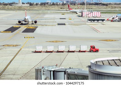 Barcelona, Spain - March 2, 2018 - Vehicle for transporting luggages in airport