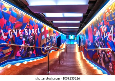 Barcelona, Spain- March 2015: Players tinnel at Camp Nou arena