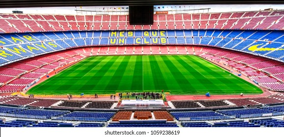 Barcelona, Spain- March 2015: View on the field and the tribunes at Camp Nou arena