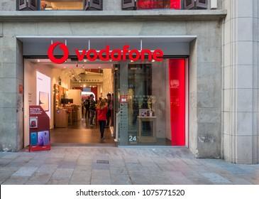 Barcelona, Spain. March 2018: Vodafone shop in Barcelona's city center. Consumerism concept.