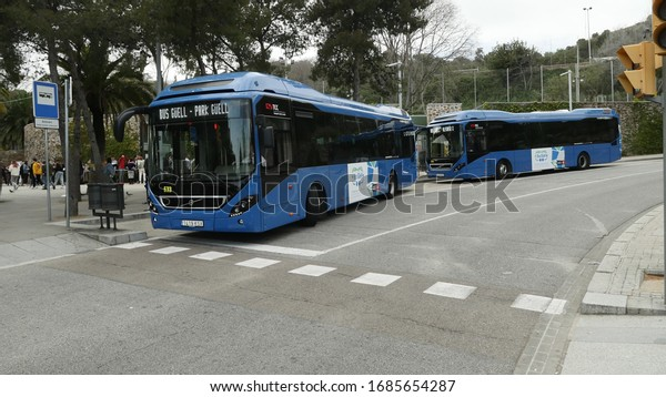 Barcelona, Spain, March 2020.  Sightseing buses with tourists at Park Guell.