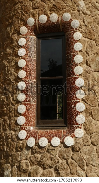Barcelona, Spain, March 2020.  Window of the entrance buildings at Park Guell, designed by Antonio Gaudi in Barcelona, Spain.