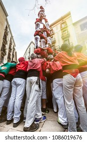 BARCELONA, SPAIN. March 22, 2015: Feast of Castellers Spanish. Barcelona, Spain. Grouped in hills, the castellers complete human towers organized according to various structures and heights.
