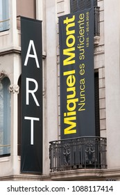 BARCELONA, SPAIN. March 22, 2015: Banners of the art exhibition Miquel Mont in Barcelona, Spain. The banners are posted in the historic Spanish city.