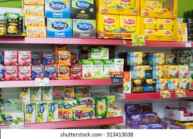 BARCELONA, SPAIN - MARCH 22, 2015: Assortment of back and green tea at average Polish supermarket groceries section in Spain