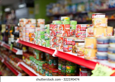 BARCELONA, SPAIN - MARCH 22, 2015: Canned goods at groceries section of average Polish supermarket
