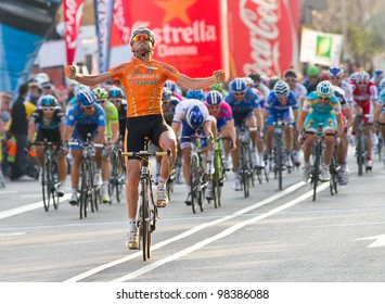 BARCELONA, SPAIN - MARCH 24: Samuel Sanchez of Euskaltel Team wins the 6th stage of the Volta a Catalunya cycling race, on March 24, 2012, in Badalona, Barcelona, Spain.