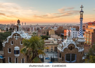 Barcelona, Spain - March 28, 2018: Sunrise view of the Park Guell designed by Antoni Gaudi, Barcelona, Spain.