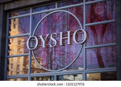 BARCELONA, SPAIN - March 29, 2018: Oysho store logo in Barcelona. Oysho is a Spanish clothing retailer specialising in women's homewear and undergarments. The company is part of the Inditex group