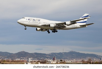 BARCELONA, SPAIN - MARCH 29: An El Al Israel Airlines Boeing 747 approaching to the El Prat Airport on March 29, 2015 in Barcelona, Spain.