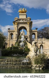 Barcelona, Spain - March 3, 2016: Fountain cascade designed by Josep Fontsere in Ciutadella Park in Ciutat Vella Barcelona Catalonia Spain