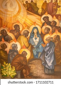 BARCELONA, SPAIN - MARCH 3, 2020: The modern painting of Pentecost in the church Santuario Nuestra Senora del Sagrado Corazon by Navarro Perez Dolz (1990).
