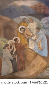 BARCELONA, SPAIN - MARCH 3, 2020: The fresco Burial of Jesus in the chruch Iglesia de Belen by artists (Grupo Flama) from half of 20. cent.