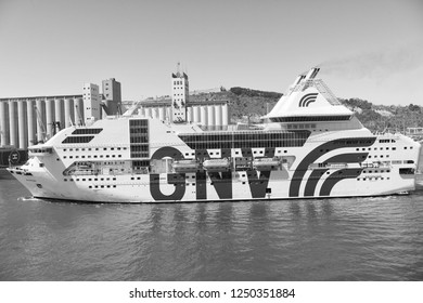 Barcelona, Spain - March 30, 2016: passenger vessel GNV Rhapsody Genova in sea port. Cruise destination and vessel trip. Summer vacation and wanderlust. vessel trip discovery. Travel by sea vessel.
