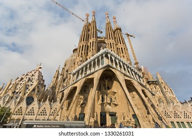 Barcelona, Spain - March 5, 2019: Sagrada Familia Cathedral. The unfinished cathedral is UNESCO World Heritage Site and one of main tourist destinations in Barcelona, Spain.