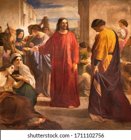 BARCELONA, SPAIN - MARCH 5, 2020: The painting of Jesus and the rich young man in the church Esglesia De Santa Maria De Montalegre from 20. cent.